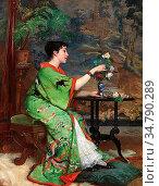 Verhas Frans - the Green Kimono - Belgian School - 19th Century. Редакционное фото, фотограф Artepics / age Fotostock / Фотобанк Лори