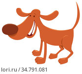 Cartoon Illustration of Happy Brown Dog Domestic Animal Character. Стоковое фото, фотограф Zoonar.com/Igor Zakowski / easy Fotostock / Фотобанк Лори