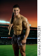 Cheerful handsome shirtless man with baseball bat posing on stadium. Стоковое фото, фотограф Zoonar.com/STEFANO CAVORETTO / easy Fotostock / Фотобанк Лори