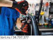 Bicycle assembly in workshop, man installs crank. Стоковое фото, фотограф Tryapitsyn Sergiy / Фотобанк Лори