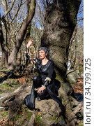 Woman in forest with dream catcher close-up. Стоковое фото, фотограф Татьяна Ляпи / Фотобанк Лори
