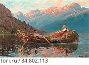 Dahl Hans - Heimfahr Am Abend Westnorwegen - Norwegian School - 19th... Редакционное фото, фотограф Artepics / age Fotostock / Фотобанк Лори