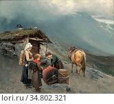 Ender Axel Hjalmar - at the Mountain Farm - Norwegian School - 19th... Редакционное фото, фотограф Artepics / age Fotostock / Фотобанк Лори