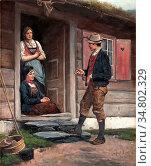 Ender Axel Hjalmar - Conversation by the Door - Norwegian School - ... Редакционное фото, фотограф Artepics / age Fotostock / Фотобанк Лори