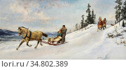 Ender Axel Hjalmar - Vinterutflukt - Norwegian School - 19th Century. Редакционное фото, фотограф Artepics / age Fotostock / Фотобанк Лори