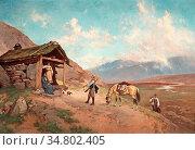 Ender Axel Hjalmar - the Visit - Norwegian School - 19th Century. Редакционное фото, фотограф Artepics / age Fotostock / Фотобанк Лори