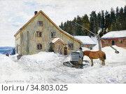 Munthe Gerhard - Courtyard Winter - Norwegian School - 19th Century. Редакционное фото, фотограф Artepics / age Fotostock / Фотобанк Лори