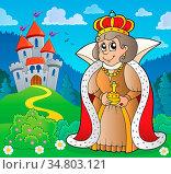 Happy queen near castle theme 4 - picture illustration. Стоковое фото, фотограф Zoonar.com/Klara Viskova / easy Fotostock / Фотобанк Лори