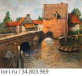 Thaulow Frits - Kanal in Antwerpen 2 - Norwegian School - 19th Century... Редакционное фото, фотограф Artepics / age Fotostock / Фотобанк Лори