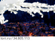 Defocused winter tree with lights and decorations in Tromso town,... Стоковое фото, фотограф Zoonar.com/Pawel Opaska / easy Fotostock / Фотобанк Лори