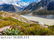 Beautiful natural landscapes in Mount Cook National Park, South Island... Стоковое фото, фотограф Zoonar.com/Galyna Andrushko / easy Fotostock / Фотобанк Лори