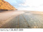 Beautiful Sunset at the Ocean Beach, New Zealand. Inspiring natural... Стоковое фото, фотограф Zoonar.com/Galyna Andrushko / easy Fotostock / Фотобанк Лори