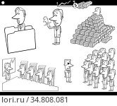 Black and White Cartoon Illustration of Business Concepts with Funny... Стоковое фото, фотограф Zoonar.com/Igor Zakowski / easy Fotostock / Фотобанк Лори