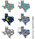 Karten von Texas mit verschiedenen Wettersymbolen - Maps of Texas... Стоковое фото, фотограф Zoonar.com/lantapix / easy Fotostock / Фотобанк Лори
