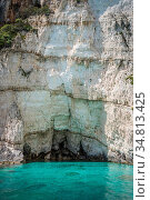 Turquoise water under Blue Caves in Zante Island, Greece. Стоковое фото, фотограф Zoonar.com/Pawel Opaska / easy Fotostock / Фотобанк Лори