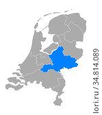 Karte von Gelderland in Niederlande - Map of Gelderland in Netherlands. Стоковое фото, фотограф Zoonar.com/Robert Biedermann / easy Fotostock / Фотобанк Лори