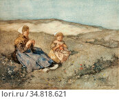 Akkeringa Johannes Evert - Mother and Child in Dune Landscape - Dutch... Редакционное фото, фотограф Artepics / age Fotostock / Фотобанк Лори