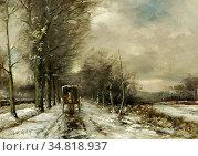 Apol Louis - Carriage Approaching in Winter - Dutch School - 19th... Редакционное фото, фотограф Artepics / age Fotostock / Фотобанк Лори