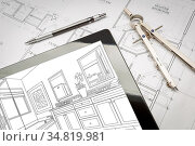 Computer Tablet with Master Bathroom Design Over House Plans, Pencil... Стоковое фото, фотограф Zoonar.com/Andy Dean Photography / easy Fotostock / Фотобанк Лори