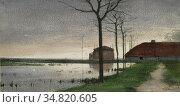 Bock Theophile Emile Achille De - View Along the River Vecht - Dutch... Редакционное фото, фотограф Artepics / age Fotostock / Фотобанк Лори
