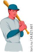 Watercolor style illustration of a vintage american baseball player... Стоковое фото, фотограф Zoonar.com/patrimonio designs / easy Fotostock / Фотобанк Лори