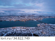 Aerial view to the city of Tromso in winter from the mountain ledge... Стоковое фото, фотограф Zoonar.com/Pawel Opaska / easy Fotostock / Фотобанк Лори