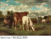 Troyon Constant - Troupeau De Vaches Au Paturage - French School - ... Редакционное фото, фотограф Artepics / age Fotostock / Фотобанк Лори