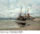 Gruppe Charles Paul - Vissersboten - Dutch School - 19th Century. Редакционное фото, фотограф Artepics / age Fotostock / Фотобанк Лори