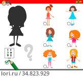 Cartoon Illustration of Finding the Right Shadow Educational Game... Стоковое фото, фотограф Zoonar.com/Igor Zakowski / easy Fotostock / Фотобанк Лори