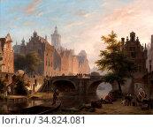 Hove Bart Van - De Oude Gracht in Utrecht - Dutch School - 19th Century... Редакционное фото, фотограф Artepics / age Fotostock / Фотобанк Лори