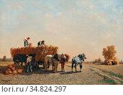 Veyrassat Jules Jacques - the Hay Cart - French School - 19th and... Редакционное фото, фотограф Artepics / age Fotostock / Фотобанк Лори