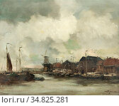 Jansen Willem George Frederik - Haven - Dutch School - 19th Century. Редакционное фото, фотограф Artepics / age Fotostock / Фотобанк Лори