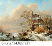 Kruseman Frederik Marinus - Paysage D'hiver Avec Personnages Sur ... Редакционное фото, фотограф Artepics / age Fotostock / Фотобанк Лори