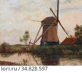 Pieters Evert - Vue En Hollande - Dutch School - 19th Century. Редакционное фото, фотограф Artepics / age Fotostock / Фотобанк Лори