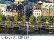 Blick vom Turm der Christiansborg Schlosskirche auf den Holmens Kanal... Стоковое фото, фотограф Peter Schickert / age Fotostock / Фотобанк Лори