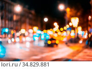 The street of the night city is out of focus. Стоковое фото, фотограф Zoonar.com/Oleksii Hrecheniuk / easy Fotostock / Фотобанк Лори
