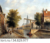 Spohler Johannes Franciscus - Capricio Sunlit Townview in Amsterdam... Редакционное фото, фотограф Artepics / age Fotostock / Фотобанк Лори