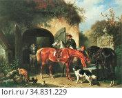 Verschuur I Wouterus - Rustende Paarden Voor Een Hoeve - Dutch School... Редакционное фото, фотограф Artepics / age Fotostock / Фотобанк Лори