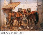 Verschuur II Wouter - Paarden in De Stal 3 - Dutch School - 19th ... Редакционное фото, фотограф Artepics / age Fotostock / Фотобанк Лори