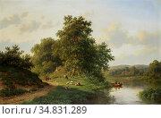Vester Willem - River Landscape with Cattle - Dutch School - 19th... Редакционное фото, фотограф Artepics / age Fotostock / Фотобанк Лори