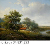 Vester Willem - Zomerlandschap Met Boerenhoeve - Dutch School - 19th... Редакционное фото, фотограф Artepics / age Fotostock / Фотобанк Лори