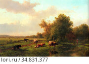 Vester Willem - a Landscape with Cows on a Riverbank a Farm Beyond... Редакционное фото, фотограф Artepics / age Fotostock / Фотобанк Лори