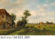 Vester Willem - a Sunny Landscape with Cattle near a Farm - Dutch... Редакционное фото, фотограф Artepics / age Fotostock / Фотобанк Лори