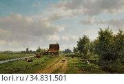Vester Willem - a Summer Landscape with Figures and Cattle - Dutch... Редакционное фото, фотограф Artepics / age Fotostock / Фотобанк Лори