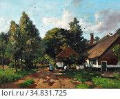 Windt Chris Van Der - Boomrijk Landschap Met Vrouw Bij Boerderij - ... Редакционное фото, фотограф Artepics / age Fotostock / Фотобанк Лори