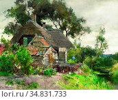 Windt Chris Van Der - Boerderijtje Te Reewijk - Dutch School - 19th... Редакционное фото, фотограф Artepics / age Fotostock / Фотобанк Лори