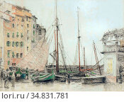 Wolter Hendrik Jan - in De Haven Van Camogli 1 - Dutch School - 19th... Редакционное фото, фотограф Artepics / age Fotostock / Фотобанк Лори