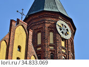 Kaliningrad, Russia - september 30, 2020: Tower of Koenigsberg Cathedral, Gothic temple of the 14th century. Symbol of Kaliningrad, until 1946 Koenigsberg, Russia. Редакционное фото, фотограф Сергей Трофименко / Фотобанк Лори