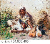 Lucas-Robiquet Marie Aimée - Merchant of Hens Algeria - French School... Стоковое фото, фотограф Artepics / age Fotostock / Фотобанк Лори