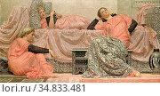 Moore Albert Joseph - Reading Aloud - British School - 19th Century. Редакционное фото, фотограф Artepics / age Fotostock / Фотобанк Лори